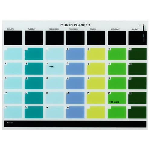 Naga Designer Magnetic Glassboard Month Planner 1200mm x 900mm