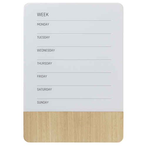 Naga Designer Magnetic Glassboard Week Planner Oak Series