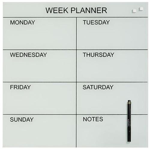 Naga Designer Magnetic Glassboard Week Planner White
